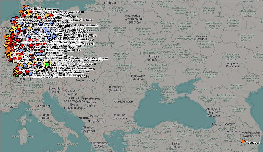Screenshot gelöschter, wiederhergestellter places in Deutschland